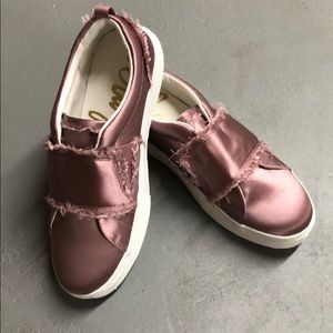 Sam Eldeman Pink Satin Levine Slip-on Sneakers